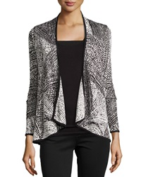 Neiman Marcus Graphic Print Stretch Knit Cardigan Black Ivory