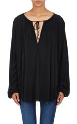 Raquel Allegra Women's Gathered Long Sleeve Blouse Black