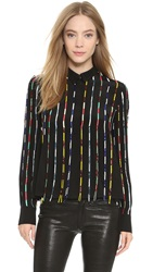 Suno Multi Stripes Collared Shirt Multicolor Beading