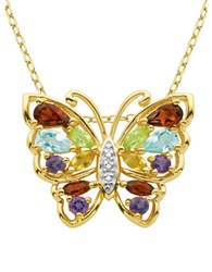 Lord And Taylor Multi Stone Butterfly Pendant Necklace