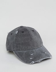 Asos Distressed Baseball Cap In Black Black