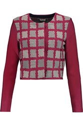 Issa Millie Cropped Printed Stretch Ponte Jacket Red
