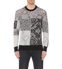 Diesel K Paysley Bandana Print Knitted Jumper Black