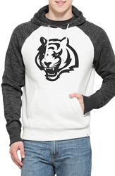 47 Brand 'Cincinnati Bengals Hashmark' Graphic Fleece Hoodie Open White