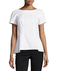 Lafayette 148 New York Short Sleeve Fitted Blouse White
