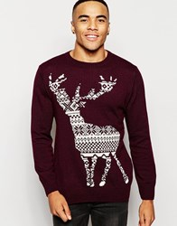Vacant Stag Fair Isle Jacquard Knitted Christmas Jumper Red