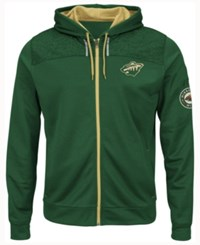 Majestic Men's Minnesota Wild Hashmarks Full Zip Hooded Jacket Green