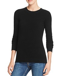 Aqua Cashmere Fitted Crewneck Cashmere Sweater Black