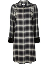 Christian Dada Western Embroidered Plaid Dress Black