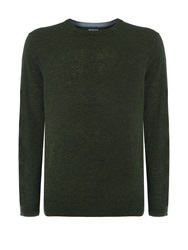 Howick Arlington Crew Neck 100 Lambswool Jumper Forest