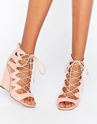 Asos Harlesden Lace Up Wedges Peach Pink