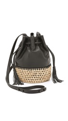 Loeffler Randall Straw And Leather Bucket Bag Black Natural