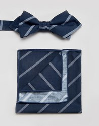 Minimum Bow Tie And Pocket Square Set In Stripe Blue
