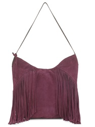 East Leather Fringed Hobo Red