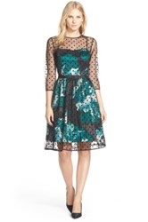 Eliza J Belted Polka Dot Mesh Overlay Fit And Flare Dress Green