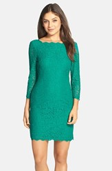Adrianna Papell Women's Lace Overlay Sheath Dress Emerald
