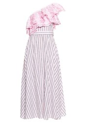 Gul Hurgel One Shoulder Ruffle Trimmed Striped Dress Pink Multi