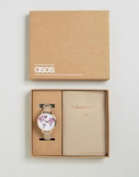 Asos 'Oh The Places We Will Go' Watch And Passport Holder Set Grey