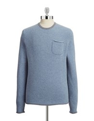 Black Brown Woven Crewneck Sweater Pale Blue