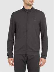 Armani Collezioni Charcoal Diamond Pattern Zipped Sweatshirt Grey