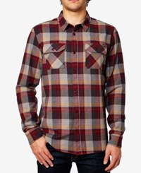 Fox Men's Trail Dust Plaid Long Sleeve Flannel Shirt Burgundy
