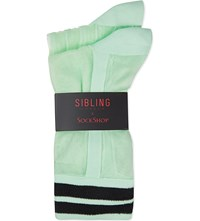 Sibling X Sockshop Pack Of 2 Ankle Socks Green