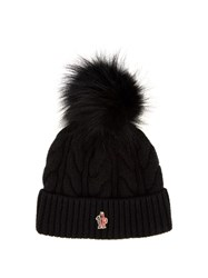 Moncler Fur Pompom Knitted Beanie Hat Black