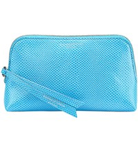 Aspinal Of London Essential Lizard Embossed Leather Cosmetic Case Aqua