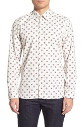 Peter Werth 'Crome' Trim Fit Long Sleeve Floral Print Sport Shirt Gray