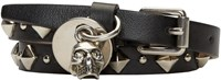 Alexander Mcqueen Black Leather Studded Double Wrap Skull Bracelet