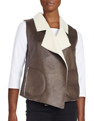 French Connection Nala Sherpa Lined Faux Leather Vest Brown