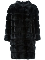 Simonetta Ravizza Panelled Fur Coat Black