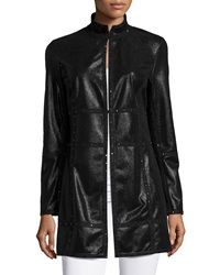 Grayse Studded Faux Leather Coat Black