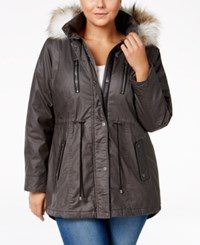 American Rag Plus Size Faux Fur Hood Cinch Waist Coat Only At Macy's Charcoal