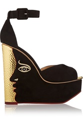 Charlotte Olympia Two Faced Suede Wedge Sandals