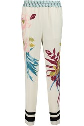 Etro Printed Silk Pique Tapered Pants White