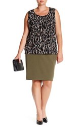 Kasper Stretch Skirt Plus Size Green