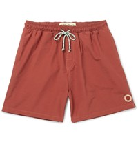 Mollusk Vacation Mid Length Cotton Blend Swim Shorts Red