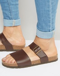 Asos Slider Sandals In Brown With Cork Sole Brown Cork