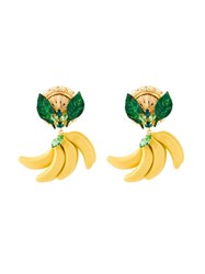 Dolce And Gabbana Banana Clip On Earrings Yellow And Orange
