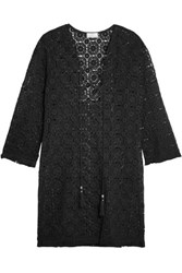 Miguelina Serena Lace Up Fringed Crocheted Cotton Coverup Black