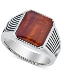 Esquire Men's Jewelry Red Tiger's Eye 14 X 12Mm Ring In Sterling Silver First At Macy's