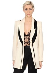 Alexander Mcqueen Two Tone Wool And Silk Tuxedo Long Jacket