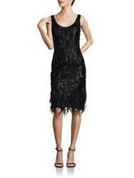 David Meister Embroidered Feathered Shift Dress Black