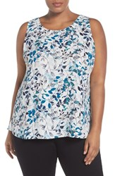 Sejour Plus Size Women's Pleat Back Top Ivory Blue Print
