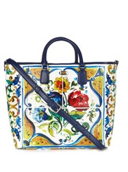Dolce And Gabbana Majolica Leather Tote White Multi