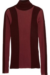 Emilio Pucci Paneled Ribbed Knit Wool Blend Turtleneck Top Burgundy