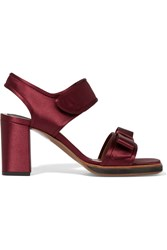 Marni Bow Embellished Satin And Leather Sandals Red