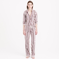 J.Crew End On End Pajama Set In Burgundy Stripe