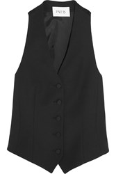Pallas Regulus Satin Paneled Wool Gabardine Vest Black